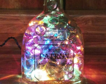 FREE SHIP** Light up tequilla bottle. Upcycled Patron bottle. Bottle lights. Bar lights. Liquor bottle lights. Patron bottle.**Free S+H**