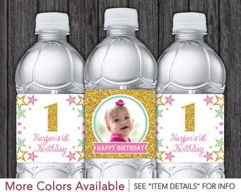 Twinkle Twinkle Little Star Water Bottle Labels - Printable Twinkle Little Star Birthday Party Decorations - DIY Digital File