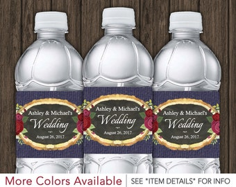 Rustic Wedding Water Bottle Labels • Printable Decorations • DIY Digital File