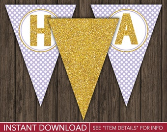 Purple and Gold Happy Birthday Banner - Party Decorations - Printable Digital File - INSTANT DOWNLOAD