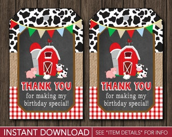Farm Favor Tags • Barnyard Birthday Party Favor Tags • Printable Digital File • INSTANT DOWNLOAD