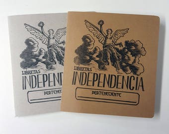 "Vintage Looking ""Libretas Independencia"" Hand-Printed, Hand-Stitched Cahier Style Notebook"