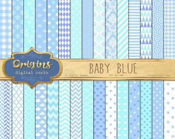 70% OFF Baby Blue Digital Paper, baby shower digital paper, blue Patterns backgrounds, baby boy blue scrapbook paper download commercial use