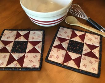 Kitchen Potholders/ Quilted Potholders/Country Decor/Handmade/Item #2029