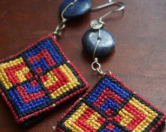 Palestinian embroidery & Lapis Lazuli handmade tatreez earrings