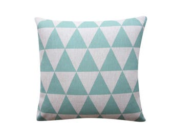 "Mint Triangles Pillow Cover, Geometric Cushion, 20"" x 20"" Decorative Pillow Cover Cushion Cover Kids Room Throw Pillow 122"