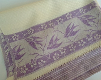 Purple tea towel, NOS tea towel, tea towel with birds, new and unused towel, kitchen towel,