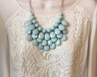 Mint Green Aqua Bubble Bib Beaded Chandelier Layered Statement Necklace with Matching Earrings