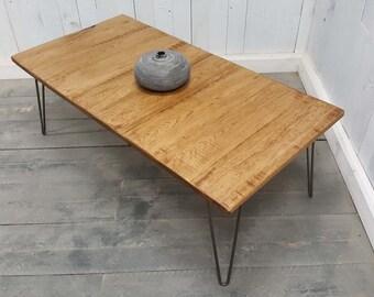 Solid Oak Coffee Table, Hairpin Legs,Industrial Style Hairpin Leg Coffee Table,Industrial Furniture, Vintage Hadmade Oak Coffee Table