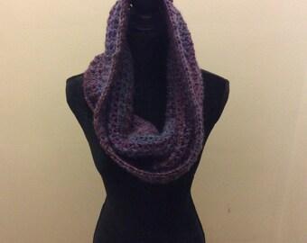 Hooded scarf, crochet scarf, infinity scarf, neckwarmer, purple scarf,