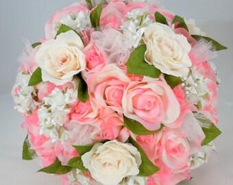 Extra Large Bridal Bouquet, Wedding Flowers, Pink Silk Roses, Blush Silk Roses, Satin Ribbon, Organza, Pearls, Rhinestone Accent, Lace