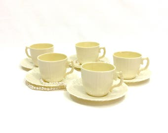 Set of Five Belleek Demitasse Cups & Saucers, Limpet Pattern,1965-1980, Belleek China, Porcelain Demitasse, Vintage Tea Cups