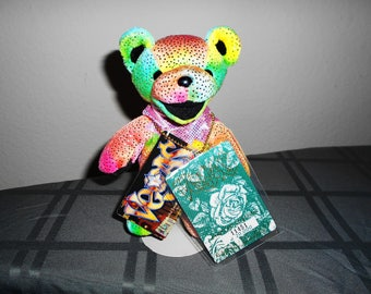 """Grateful Dead Bear Limited Edition """"Vegas"""" Special Back Stage Pass/New With Tags/Numbered /Very Colorful And Rare!Great Gift For Dead Heads!"""