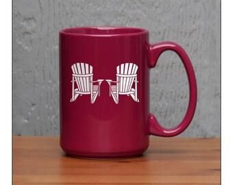 Coffee Mug Adirondack Chairs  / 15 oz Coffee Mugs for the Cottage / Engraved Large Tea Cup / Retirement Gift / Hot Chocolate Mug
