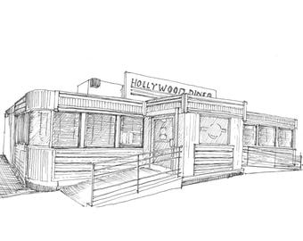 Ink sketch of Hollywood Diner in Baltimore, Maryland