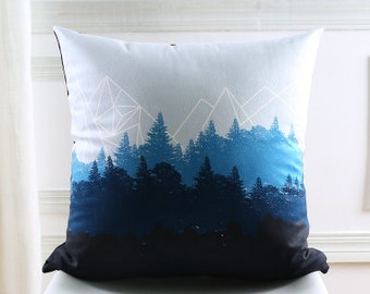 Decorative pillow cover/ forest cushion cover/ geometric woodlandpillow throw/pillow sham