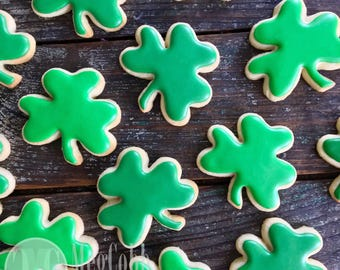 12 Classic Green Shamrock Sugar Cookies, clover, green, St. Patrick's Day, Irish, Ireland, birthday, vanilla almond, leprechaun, cookies