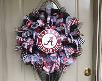 Alabama Crimson Tide wreath,  Alabama Crimson Tide deco mesh wreath, Alabama ribbon, Alabama Crimson Tide Fan, Alabama Gift, Alabama house
