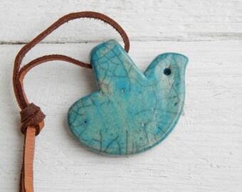 set for needlework, a set for creativity, amulet- dove,Raku ceramics, bird, art pottery