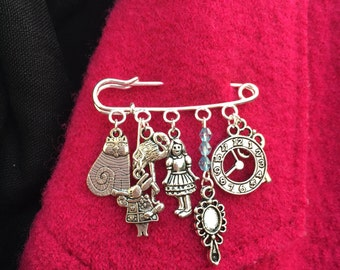 Alice themed brooch ~ Wonderland ~ Through the looking glass ~ Quirky kilt pin ~ Silver plated ~ Unusual jewellery / jewelry gift x