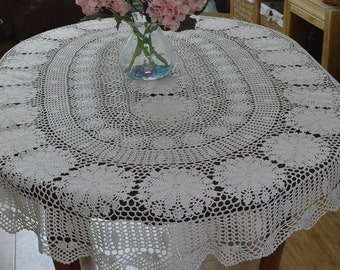 Delicate Crochet Tablecloth Oval, 100% Hand Crocheted Table Cover, Vintage  Style Table Cloth