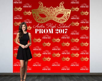 Prom Personalized Photo Backdrop - Masquerade Mask Birthday Photo Backdrop - Step and Repeat Photo Booth Backdrop, Prom 2017 Photo Backdrop