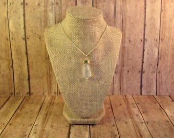 Gold Dipped Clear Quartz Crystal Necklace - 13 inch