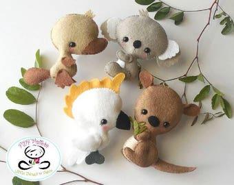 Australian Animals set of Four-PDF sewing pattern-Cockatoo-Kangaroo-Koala-Platypus-Felt ornaments-Animals-Nursery decor-Baby's mobile toy