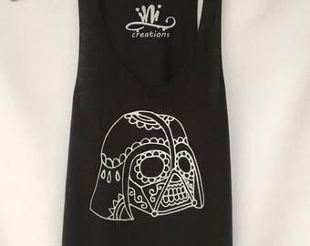 Darth Vader Tank Top. StarWars Racer Back Tank Top. Black Sugar Skull Darth Vader Tank Top. Gift Friendly .