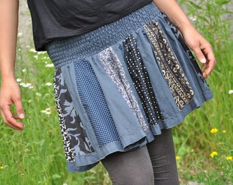 Patchwork Skirt in blue tones