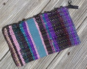 Handwoven Clutch - Silk Strips in Shades of Purple, Black and Green