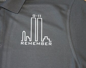9-11 Memorial REMEMBER patriotic polo shirt