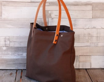 Maxibag - Shopping bag - Brown - Shoulder Maxi bag, handmade in canvas, with removable leather straps