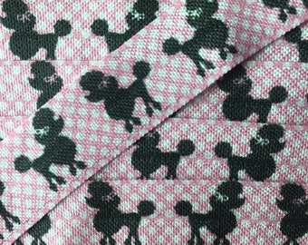 poodle print Foe,Dog foe, pink dot poodle, foe by the yard, craft foe, hair tie foe,hair toe material , tape webbing material