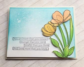 Stronger Braver Smarter Loved / Encouragement / Notecard / Folded Notecard / Handstamped