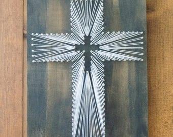 Easter Cross String Art, Wood Decor, Religious Art Decor, Rustic Wood Decor
