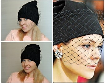 Beanies cap / Наt beanie with a black veil- Black