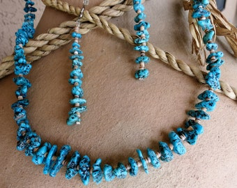 Vintage Native American Turquoise Beads Necklace & Earring Set  Sterling Silver French Hooks