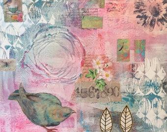 "Mixed media art canvas ""Rhapsody in pink'  30cm x 30cm"