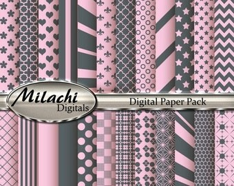 60% OFF SALE Light Pink and Gray Digital Paper Pack - Commercial Use - Instant Download - M5