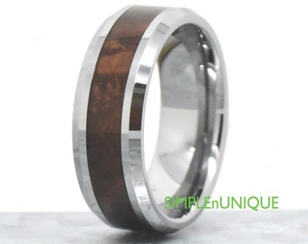 8mm Mens Wedding Band, Mens Wood Wedding Band, Mahogany Wood Inlay, Wood Ring, Mens Wood Ring, Gift For Him, Unique Anniversary Ring Band
