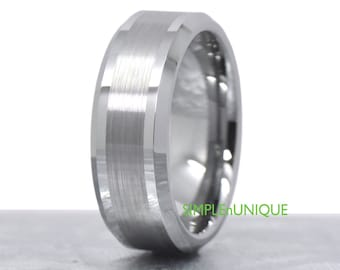 8mm Mens Wedding Band, Mens Wedding Ring, Tungsten Wedding Band, Wedding Ring Mens, Tungsten Carbide Wedding Band,Male Tungsten Wedding Band