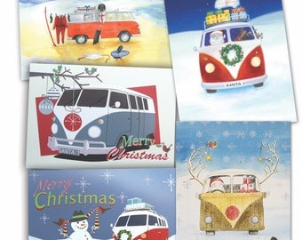 VW split windscreen inspired camper van  Christmas cards (pack of 10)