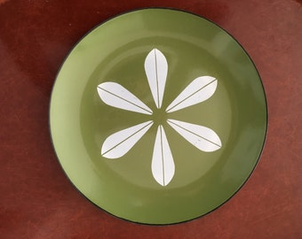 Vintage Cathrineholm Norway Green Lotus Flower Enamel Plate