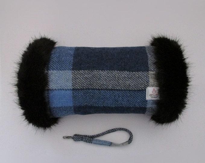 Harris Tweed Blue & Grey Tartan Check Hand Muff with Black Faux Fur Trim