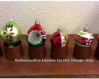 Vintage glass Christmas ornaments NOS with box. German Poland Hand made CHRISTBAUMSCHMUCK CHRISTBAUMKUGELN
