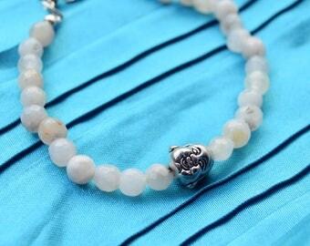 Buddha bracelet, white agate bracelet, brass bracelet, meditation bracelet, healing stones bracelet, gift for yoga teacher, gift for hippie