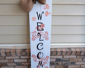 WELCOME Porch Wooden Sign, Welcome Sign, Hand-painted Sign