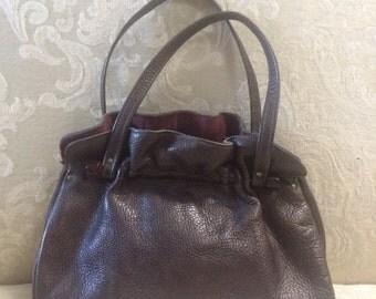 Vintage Leather Bag, Pebble Leather Purse, Brown Leather Purse, Brown Pebble Handbag, Leather Top Handle Handbag, Brown Purse, Vintage Bags