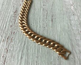 Vintage Monet Bracelet, Chain Link Bracelet, Matte Gold Bracelet, Monet, Gold Link Bracelet, Monet Bracelet, Monet Jewelry, Vintage Bracelet